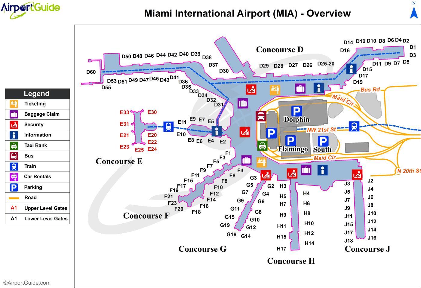Miami International Airport Map Karte Von Miami International