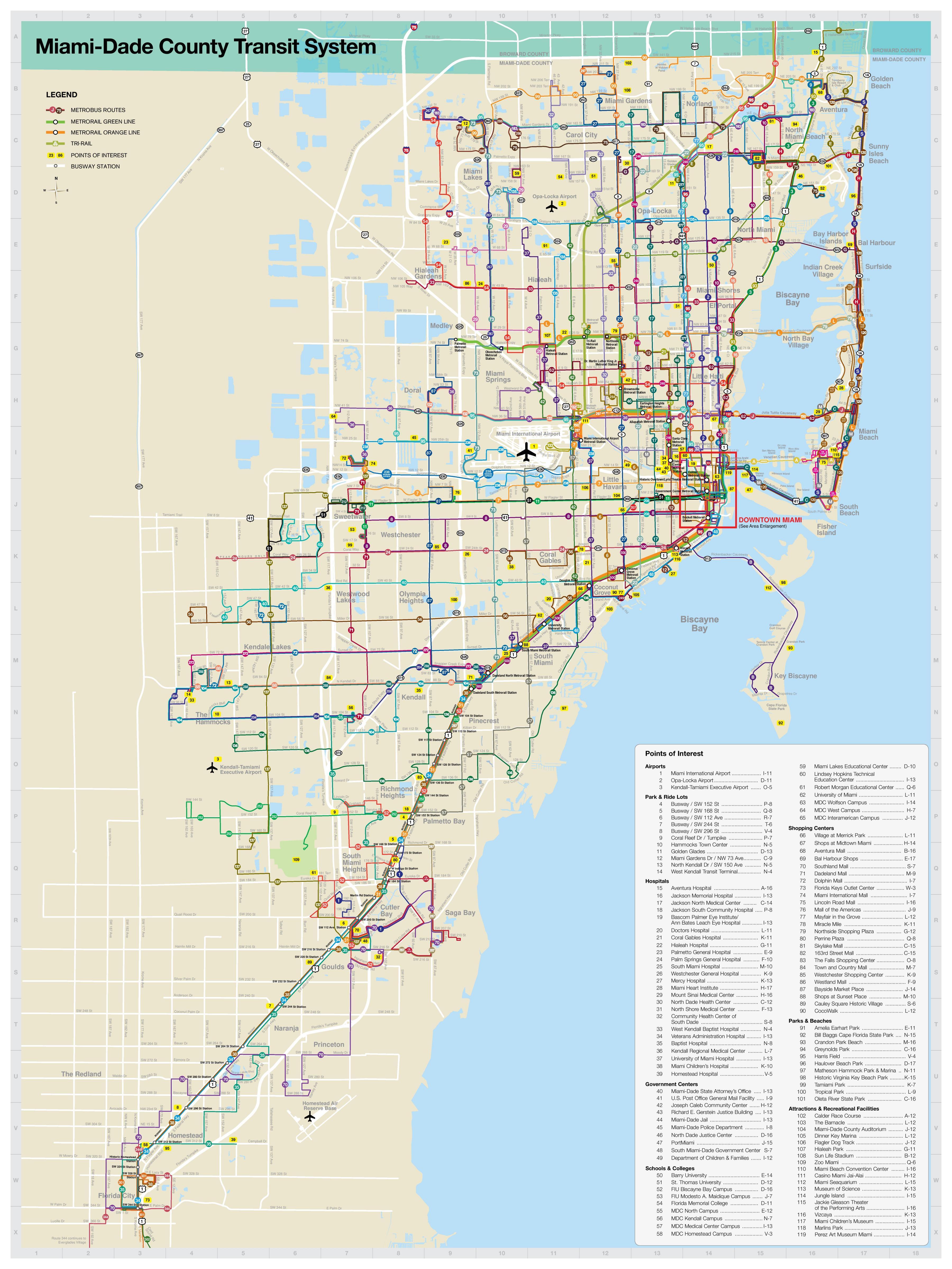 miami transport-karte - miami public transport map (florida