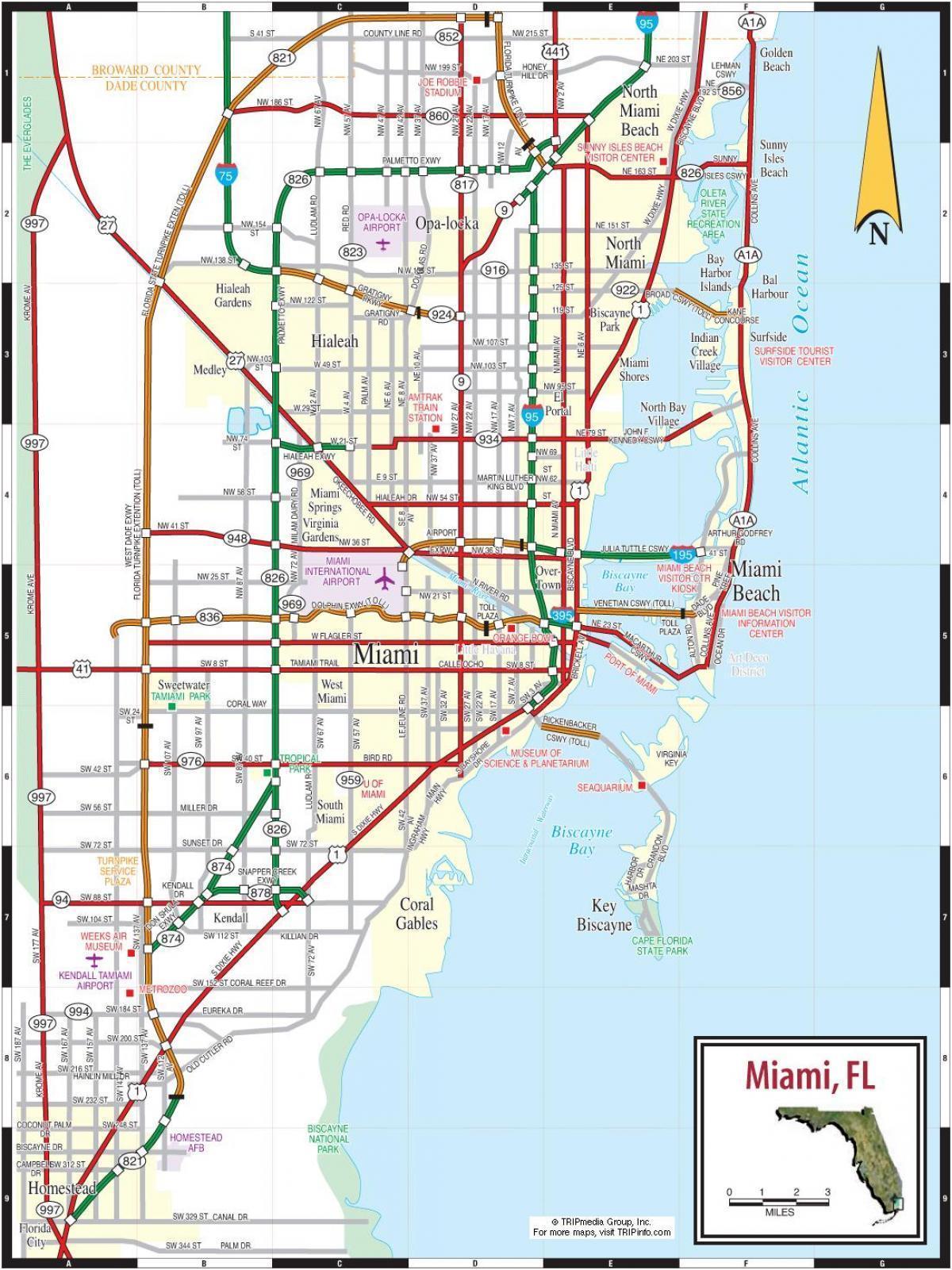 Florida Karte Drucken.Miami Mautstraßen Anzeigen Mautstraßen In Miami Karte Florida Usa
